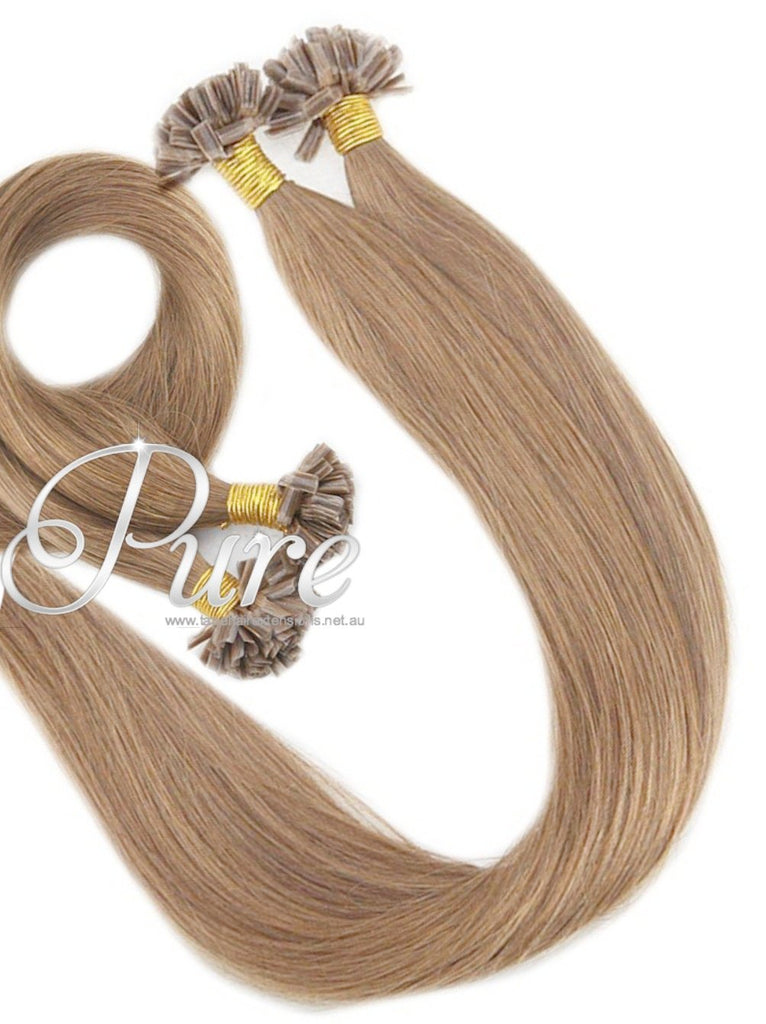 Nail Tip Keratin Hair Extensions 16 Caramel Blonde Wheat