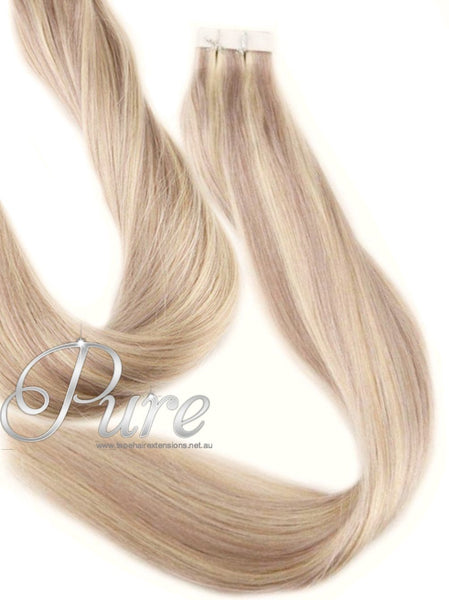 "#22/613 - ""PRINCESS""- TAPE HAIR HAIR EXTENSIONS - COOL MEDIUM BLONDE / LIGHT BLONDE - Pure Tape Hair Extensions"