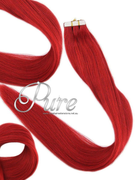 TAPE-HAIR EXTENSIONS -  #RUBY RED -  BRIGHT RUBY RED HAIR EXTENSIONS - Pure Tape Hair Extensions