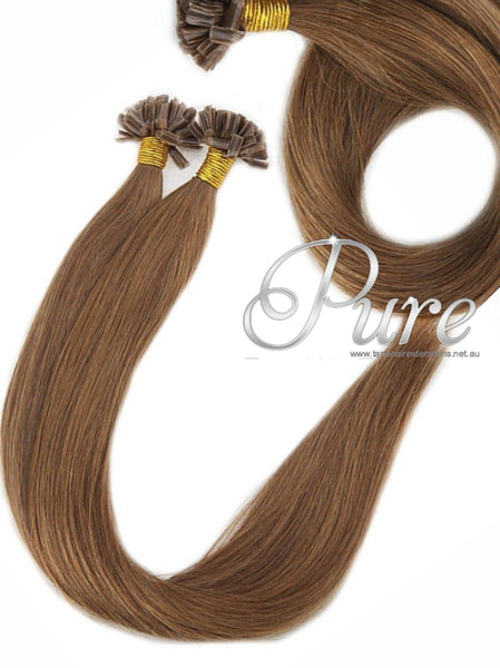 NAIL TIP / KERATIN HAIR EXTENSIONS #8 - LIGHT CHESTNUT BROWN HAIR - Pure Tape Hair Extensions