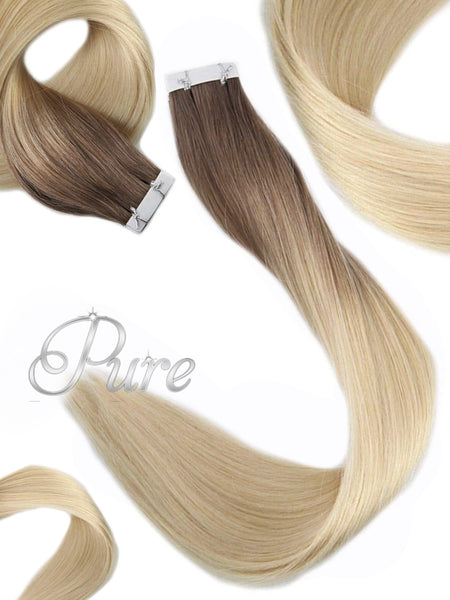 "#2/60/613 ""CHAMPAIGN"" BROWN ROOT TO BLONDE TAPE HAIR EXTENSIONS."