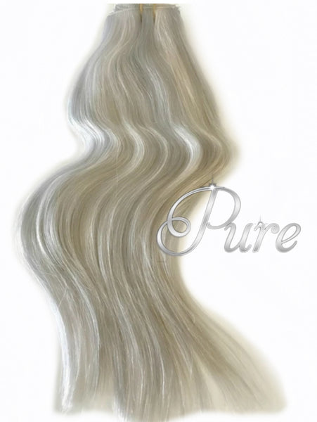 #60a/SILVER MIX  - ASH BLONDE SILVER FOILS -ULTIMATE CLIP IN - Pure Tape Hair Extensions