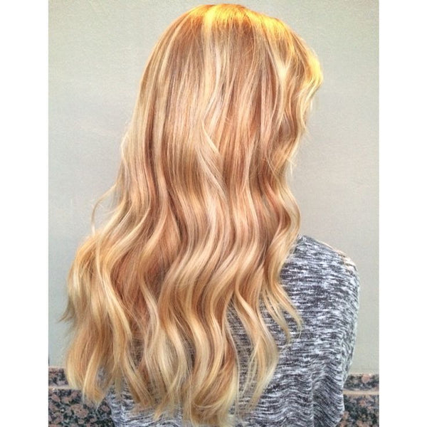 #12/613 CARAMEL HIGHLIGHTED CLIP IN HAIR EXTENSIONS