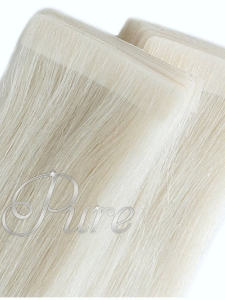 #White Blonde - Invisible Luxury Seamless Skin Weft Tape-In Hair Extensions - Pure Tape Hair Extensions