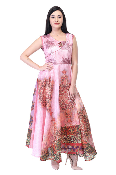 Assymytrical Printed Cotton Silk Maxi dress in Pink