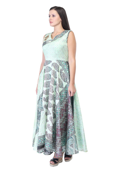 Assymetrical Printed Silk and Cotton Maxi Dress in Green