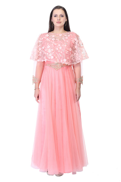Lace and Georgette off-shoulder Maxi Dress in Light Pink