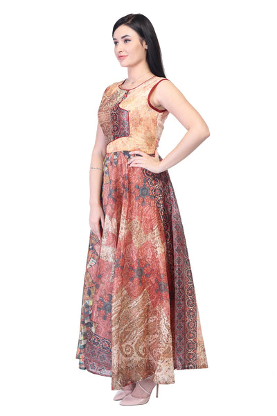 Printed Silk and Cotton Party gown