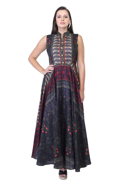 Multi-coloured Embroidey and printed party gown