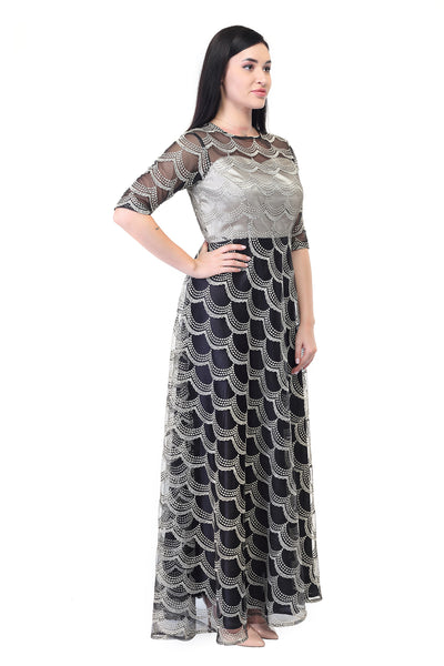Printed Cotton and silk party gown in silver black