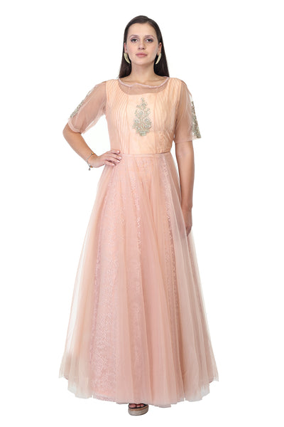 Lace and Silk Light Peach Party Gown