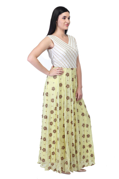 Cotton and silk, light yellow and White Party Gown