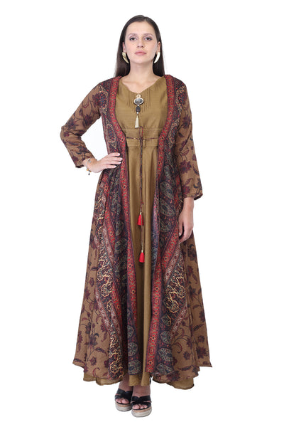 Cotton Silk Long Dress with Jacket