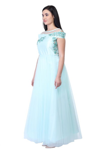 Offshoulder light blue cotton and Silk Party Gown