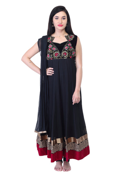 Dark Blue Cotton Anarkalli kurti with thread work