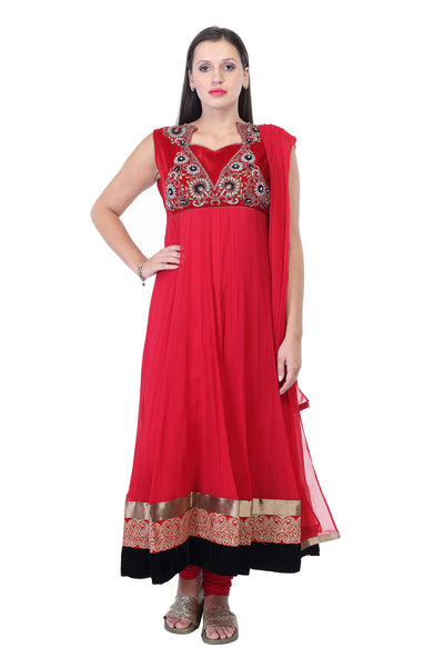 Red cotton anarkalli kurti with thread work