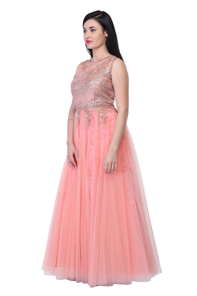Lace and silk Party Gown in Light Peach