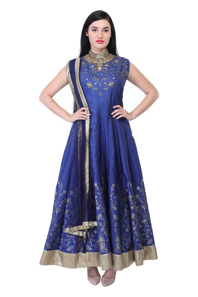 Light blue cotton and silk anarkali