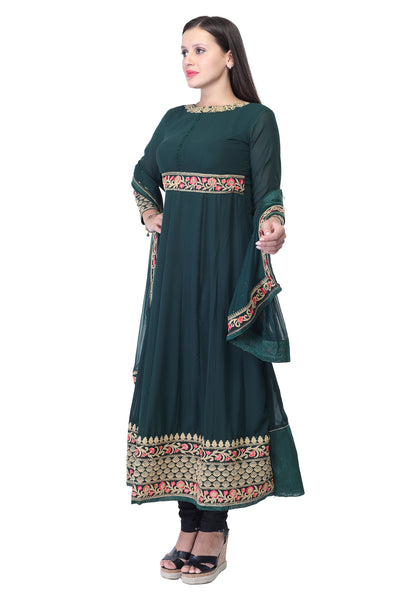 Sea green cotton kurti with embroidery work