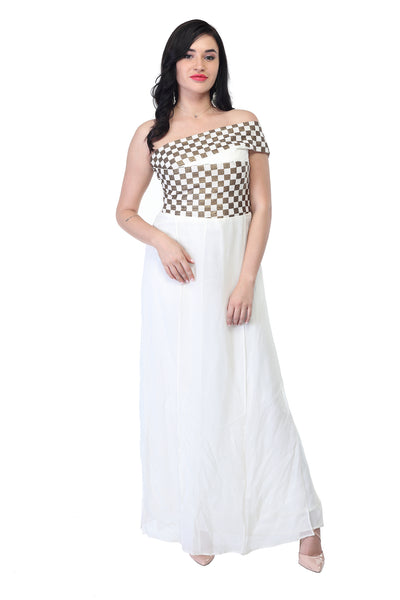 Offshoulder black and white silk cotton part gown