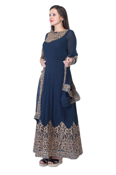 Dark navy blue cotton and silk anarkali