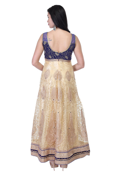 Cotton and silk anarkali in Blue-gold