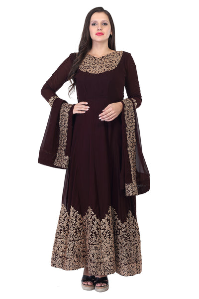 Dark Burgundy and gold cotton Anarkali