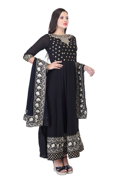 Dark blue cotton anarkali with Embroidery Work