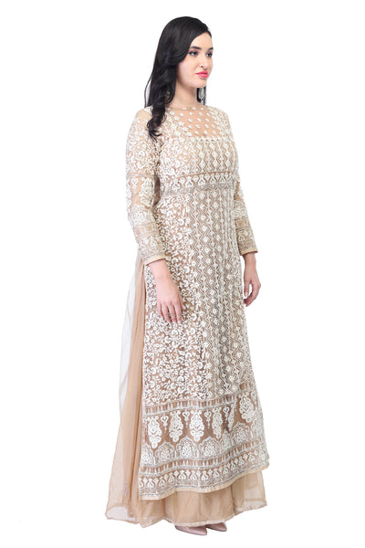 Lace and embroidery anarkali