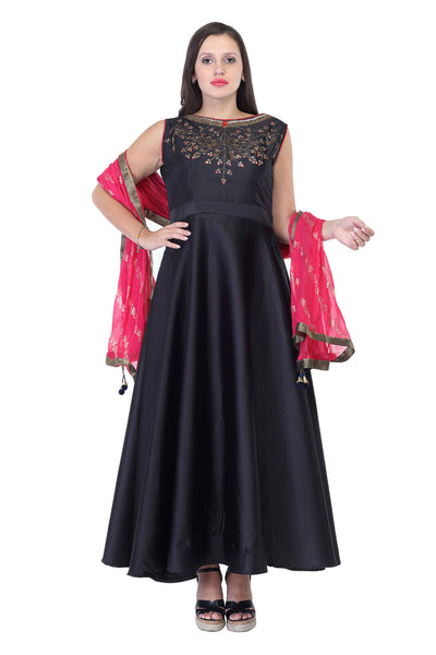 Dark Blue cotton anarkali with gold thread work