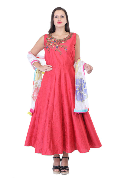 Dark peach cotton anarkali with golden thread work