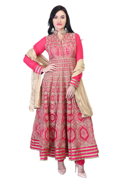 Reddish pink cotton kurti with thread work