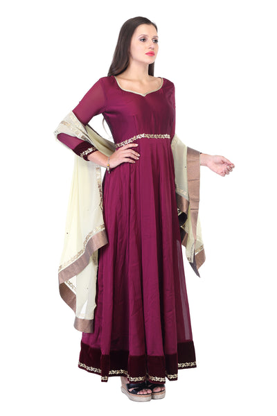 Burgundy cotton and silk Anarkali