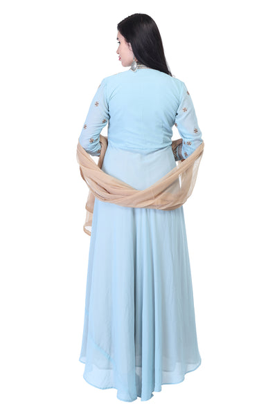 Sky Blue Anarkali with Golden thread work