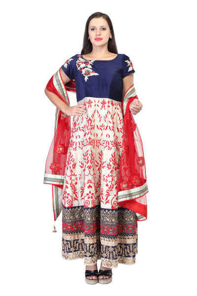 Multi-coloured anarkali with thread work