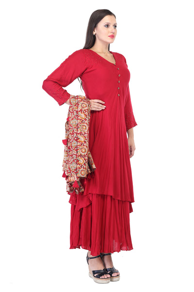 Red handcut cotton Anarkalli