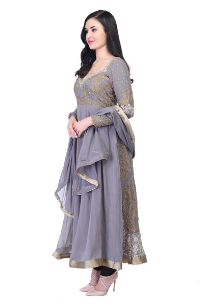 Light Grey anarkalli with thread work