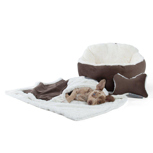 Ilan Deep Dish Cuddler, Throw Blanket, and Plush Bone Bundle - Standard