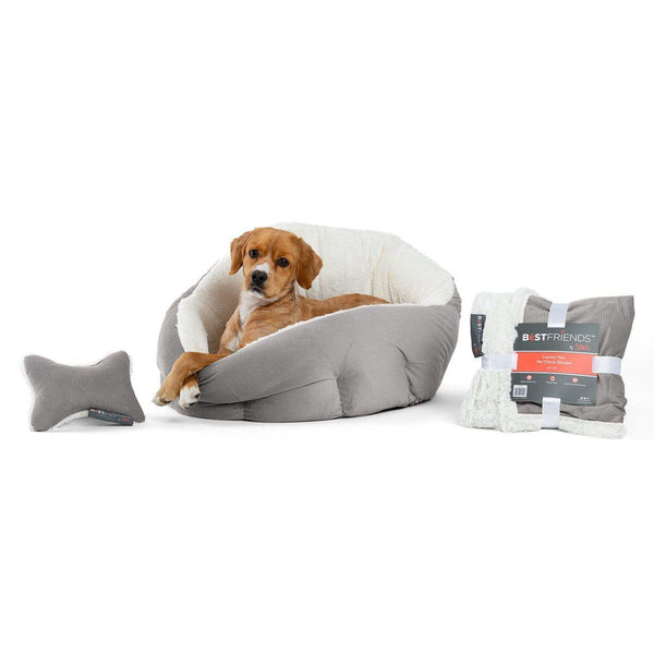 Ilan Deep Dish Cuddler, Throw Blanket, and Plush Bone Bundle - Jumbo