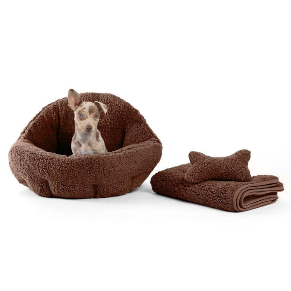 Sherpa Deep Dish Cuddler, Throw Blanket, and Plush Bone Bundle - Standard
