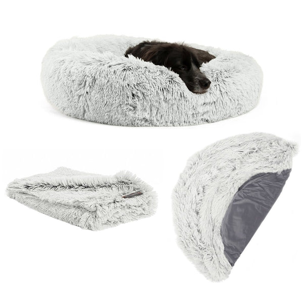 "The Original Calming Donut Dog Bed, Throw Blanket, and Extra Shell Cover Bundle - 30""x30"""