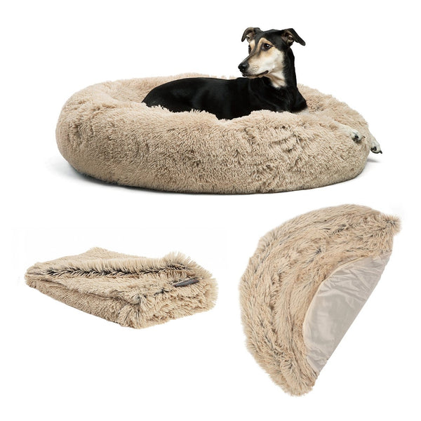 "The Original Calming Donut Dog Bed, Throw Blanket, and Extra Shell Cover Bundle - 36""x36"""