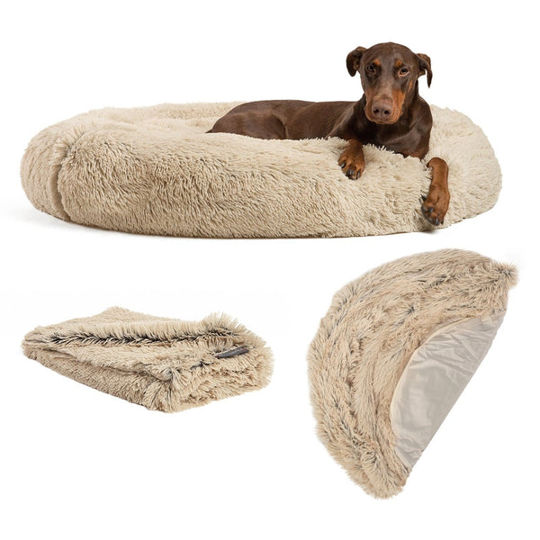 "The Original Calming Donut Dog Bed, Throw Blanket, and Extra Shell Cover Bundle - 45""x45"""