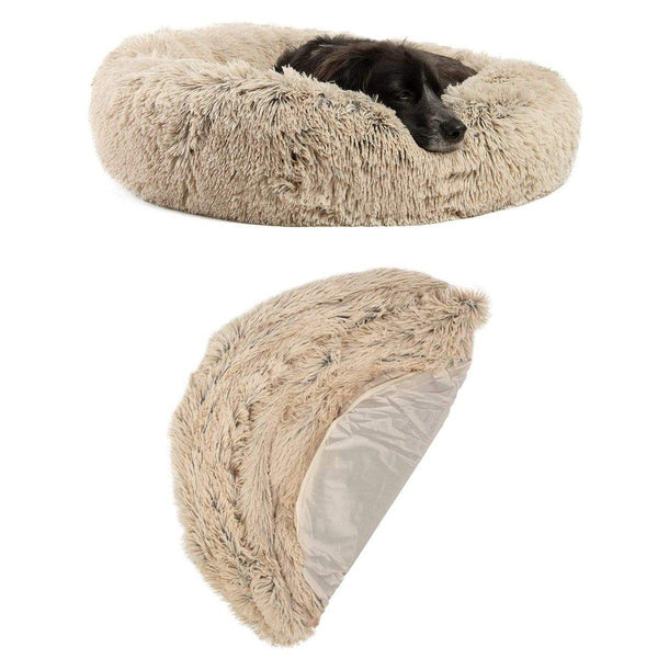 "The Original Calming Donut Dog Bed + Extra Cover Bundle - 30""x30"""