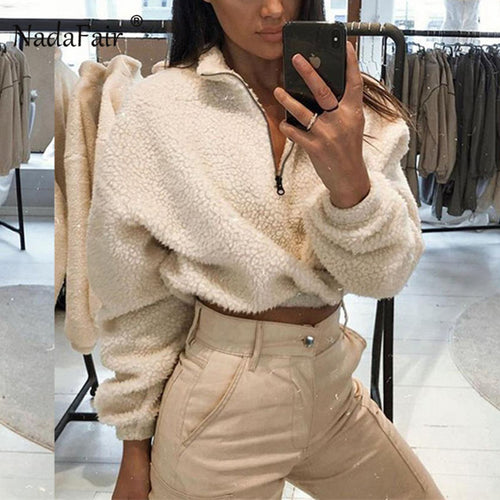 Nadafair Long Sleeve White Cropped Hoodie Women