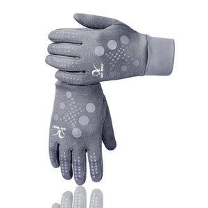 Running Gloves Lightweight Warm Best Elasticity Fit Liners Women Men Doted Grey