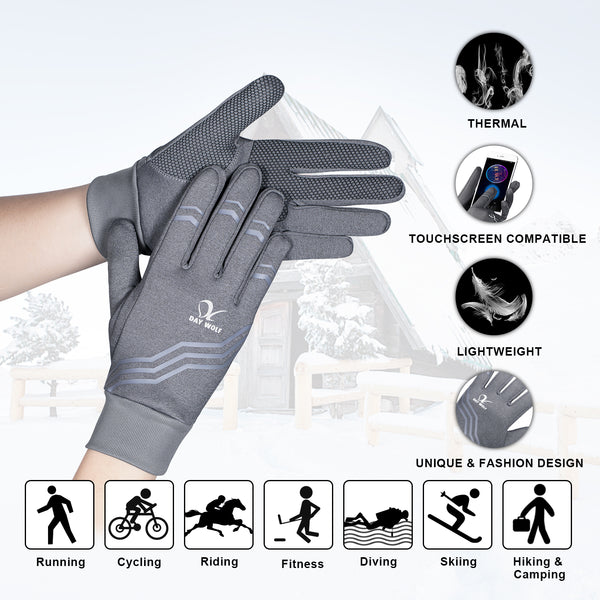 Running Gloves Lightweight Warm Best Elasticity Fit Liners Women Men Stripe Grey