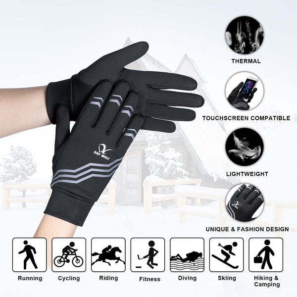 Running Gloves Lightweight Warm Best Elasticity Fit Liners Women Men Stripe Black