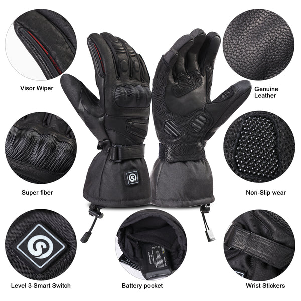 Heated Motorcycle Gloves Electric Gloves For Men Women Rechargeable Battery Waterproof Hand Warmer For Arthritis Raynaud Winter Snow Biking Riding Skiing Cycling Hunting Snowboarding
