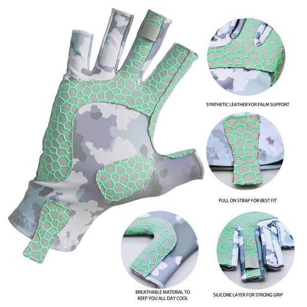 UV Protection Fishing Gloves Breathable Fingerless UPF 50+ for Outdoor Rowing Kayaking Grey